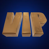 Golden word VIP on blue background Stock Images