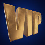 Golden word VIP on blue background Stock Image