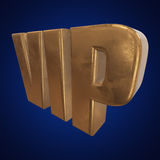 Golden word VIP on blue background Stock Photos