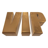 Golden word VIP on a white background Stock Image