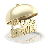 Golden words First class on salver plate under the food cover Stock Images