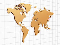 Golden world. 3d golden world map on chart over lines Stock Image
