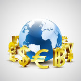 Golden world currency symbols moving around 3d world for global economic Stock Photography