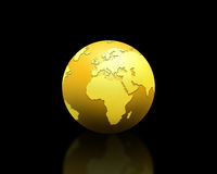 Golden world globe. With a reflection, isolated on a black background Royalty Free Stock Photo