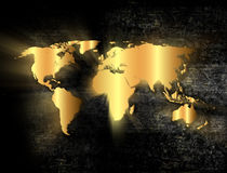 Golden world map Stock Photography