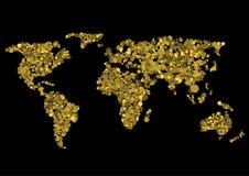 Golden world map Stock Photography