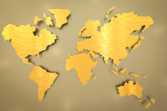 Golden world map Royalty Free Stock Image