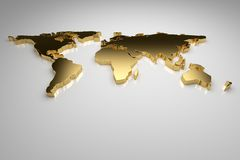 Golden World. Map on gray background, 3d render Royalty Free Stock Photos
