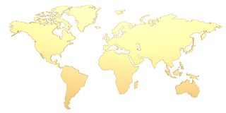 Golden world map isolated on white background 3D illustration.  stock illustration