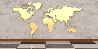 Golden world map on the wall 3D illustration.  vector illustration