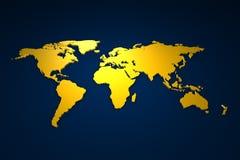 Golden Worldmap. 3d rendered wordmap in gold Royalty Free Stock Image