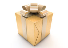 Golden Wrapped Gift Box Stock Photography