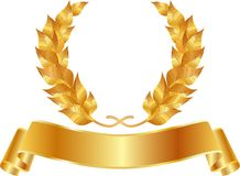 Golden wreath. With blank tape Royalty Free Stock Images
