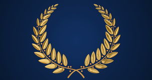 Golden wreath on blue background stock video footage
