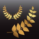Golden wreath and branch Royalty Free Stock Images