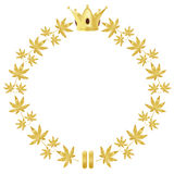 Golden wreath with leaves and crown Stock Images