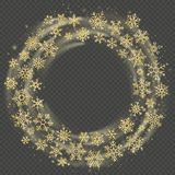 Golden wreath of snowflakes. Celebration of Christmas and New Year frame overlay effect. Happy Holidays template. EPS 10 royalty free illustration