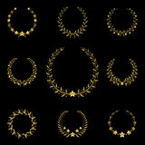 Golden wreath. With the stars Stock Photo