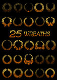 Golden wreaths with laurel, oak, flowers, wheat Royalty Free Stock Photos