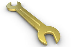 Golden wrench Stock Photography