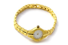 Golden wrist watch Stock Photo