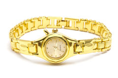 Golden wrist watch Royalty Free Stock Photo