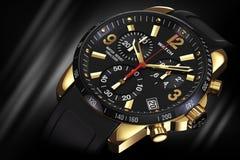 Golden wrist watch close Stock Image