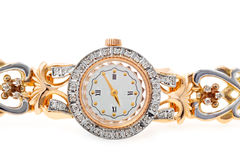 Womens gold wristwatch Stock Photo