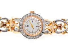 Womens gold wristwatch Stock Photo