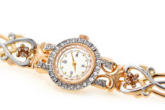 Golden wrist watch Royalty Free Stock Photos