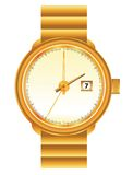 Golden wristwatch. Wristwatch in golden frame on the white background Royalty Free Stock Photo
