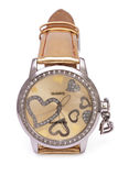 Golden Wristwatches with Hearts isolated Royalty Free Stock Photography