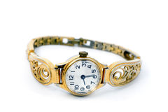 Golden Wristwatches. On white background Royalty Free Stock Photo