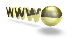 Golden www. Sign and earth image on white Stock Illustration