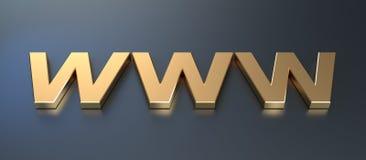 Golden WWW Symbol. Golden internet domain symbol. High quality 3d render Stock Photography