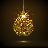 Golden X-mas Ball for Merry Christmas celebrations. Stock Photos