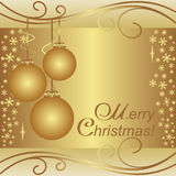 Golden xmas Background with Balls and Snowflakes. Stock Images