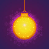 Golden Xmas Ball for Merry Christmas celebration. Beautiful golden Xmas Ball hanging on floral design decorated shiny background for Merry Christmas celebration Stock Illustration