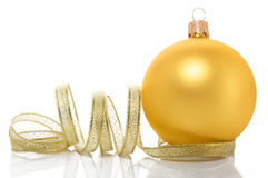 Golden xmas ball Stock Photo