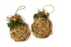 Golden xmas balls. Over white Royalty Free Stock Image