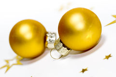 Golden xmas balls Royalty Free Stock Photography