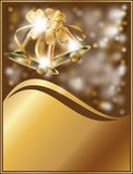 Golden xmas card with two bells Stock Photo