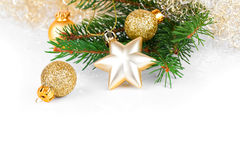 Golden xmas decoration Stock Photography