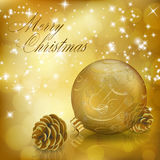 Golden Xmas greeting card Stock Photography