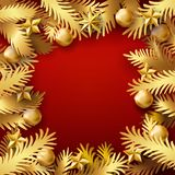 Golden Xmas paper cut branches frame. Christmas and New Year red color background with golden paper art cut out fir tree branches decorated balls and stars. Xmas Royalty Free Stock Photo