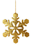 Golden xmas snowflake isolated. On white Royalty Free Stock Photography