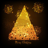 Golden Xmas Tree for Merry Christmas celebration. Creative Golden Xmas Tree with Fireworks explosion, Sparkling holiday background for Merry Christmas Stock Images