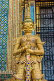 Golden yaksha demon portrait Phra Mondop grand palace bangkok Th Stock Image