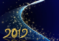 Golden year 2012 on blue starry background Stock Photos