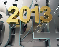 Golden year 2013. And silver numbers Stock Photos